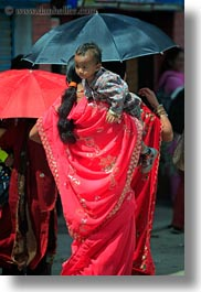 asia, babies, carrying, kathmandu, mothers, nepal, pashupatinath, vertical, womens, photograph