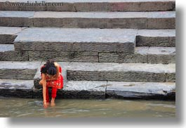asia, horizontal, kathmandu, nepal, pashupatinath, people, sighat, stairs, womens, photograph