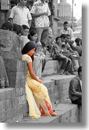 asia, color composite, kathmandu, nepal, pashupatinath, vertical, womens, yellow, photograph