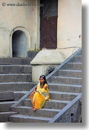 asia, kathmandu, nepal, pashupatinath, stairs, vertical, womens, yellow, photograph