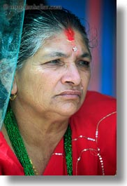 asia, bindi, earrings, hindu, jewelry, kathmandu, nepal, pashupatinath, religious, sindoor, stud, tikka, vertical, womens, photograph