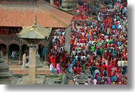 asia, buildings, crowds, horizontal, kathmandu, nepal, patan darbur square, people, photograph
