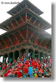 asia, buildings, crowds, kathmandu, nepal, patan darbur square, people, vertical, photograph