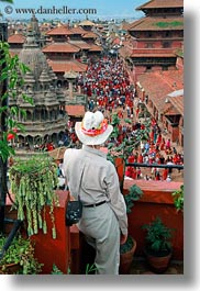 asia, crowds, kathmandu, nepal, patan darbur square, vertical, viewing, photograph