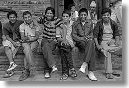 asia, black and white, boys, emotions, friends, horizontal, kathmandu, men, nepal, patan darbur square, smiles, photograph
