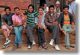asia, boys, emotions, friends, horizontal, kathmandu, men, nepal, patan darbur square, smiles, photograph