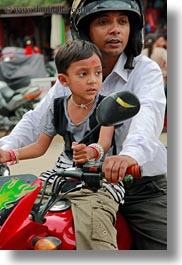 asia, fathers, kathmandu, men, moped, nepal, patan darbur square, sons, vertical, photograph