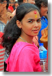 asia, bindi, crowds, girls, jewelry, kathmandu, nepal, patan darbur square, stud, vertical, womens, photograph