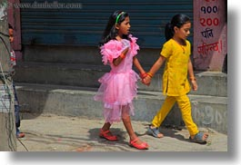asia, childrens, girls, horizontal, kathmandu, nepal, patan darbur square, people, walking, womens, photograph