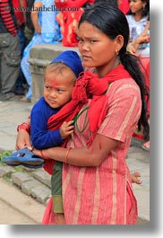 asia, babies, earrings, hindu, jewelry, kathmandu, mothers, nepal, patan darbur square, religious, sindoor, stud, tikka, vertical, womens, photograph