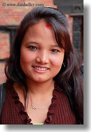 asia, emotions, girls, hindu, jewelry, kathmandu, nepal, nose ring, patan darbur square, people, religious, sindoor, smiles, smiling, teenagers, tikka, vertical, womens, photograph
