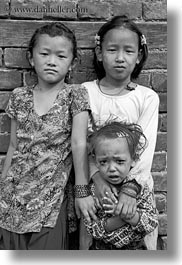 asia, babies, crying, girls, kathmandu, nepal, patan darbur square, smiling, vertical, womens, photograph