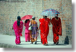 asia, horizontal, kathmandu, nepal, patan darbur square, umbrellas, walking, womens, photograph