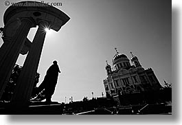 asia, black and white, buildings, cathedral of christ, churches, horizontal, landmarks, marble, materials, moscow, perspective, russia, statues, upview, photograph