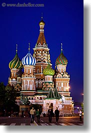 asia, buildings, churches, colorful, colors, landmarks, moscow, nite, onion dome, pedestrians, people, pokrovskiy, religious, russia, st basil, st basil cathedral, st. basil, structures, vertical, photograph