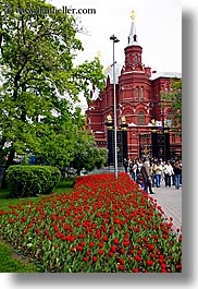 asia, buildings, historical museum, moscow, museums, russia, tulips, vertical, photograph