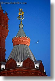 asia, buildings, crescent, historical museum, moon, moscow, nature, russia, sky, towers, vertical, photograph
