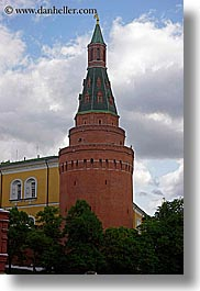 arsenal, asia, buildings, cloudy, corner, kremlin, moscow, russia, sky, towers, vertical, photograph