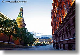 arsenal, asia, buildings, corner, dusk, horizontal, kremlin, long exposure, moscow, museums, russia, towers, photograph
