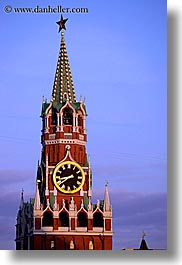 asia, buildings, dusk, kremlin, landmarks, moscow, russia, savior, towers, vertical, photograph