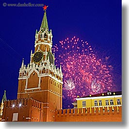 asia, buildings, fireworks, kremlin, landmarks, moscow, russia, savior, slow exposure, square format, towers, photograph