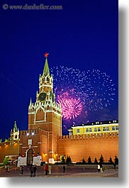 asia, buildings, fireworks, kremlin, landmarks, moscow, russia, savior, slow exposure, towers, vertical, photograph