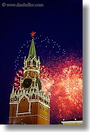asia, buildings, fireworks, kremlin, landmarks, moscow, russia, savior, towers, vertical, photograph