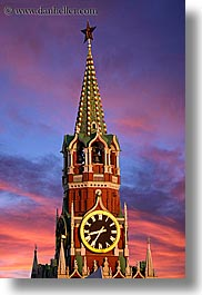 asia, buildings, kremlin, landmarks, moscow, russia, savior, sunsets, towers, vertical, photograph