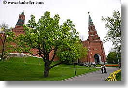 asia, buildings, horizontal, kremlin, moscow, russia, towers, trees, tulips, yellow, photograph