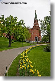 asia, buildings, kremlin, moscow, russia, towers, trees, tulips, vertical, yellow, photograph