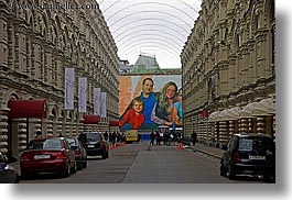 asia, billboards, buildings, families, horizontal, moscow, russia, rym shopping mall, streets, photograph
