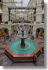 asia, buildings, fountains, mall, moscow, russia, rym shopping mall, vertical, photograph