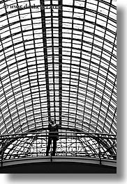 asia, black and white, bridge, buildings, moscow, russia, rym shopping mall, vertical, womens, photograph