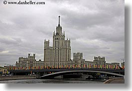 asia, bridge, buildings, flags, horizontal, moscow, russia, photograph