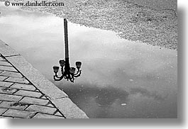 abstracts, arts, asia, black and white, city scenes, horizontal, lamp posts, moscow, reflections, russia, photograph