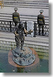asia, fishermen, guards, moscow, russia, stairs, statues, vertical, photograph