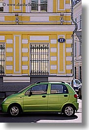 asia, buildings, cars, green, moscow, russia, vertical, yellow, photograph