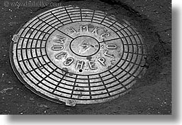 asia, covers, horizontal, manholes, moscow, old, russia, photograph