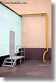 asia, doors, gray, moscow, pipes, russia, vertical, yellow, photograph