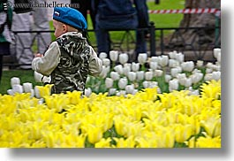 asia, beret, blues, boys, childrens, clothes, colors, flowers, hats, horizontal, moscow, nature, people, russia, tulips, yellow, photograph