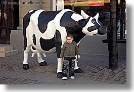 animals, arts, asia, black, boys, childrens, colors, cows, horizontal, modern art, moscow, people, russia, white, photograph