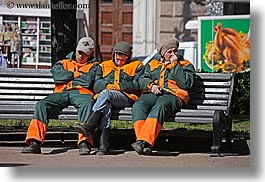 asia, baseball cap, benches, clothes, emotions, groups, hats, horizontal, humor, moscow, oranges, people, russia, suit, workers, photograph