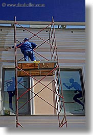 asia, blues, emotions, humor, men, moscow, painters, people, russia, scaffolds, vertical, photograph