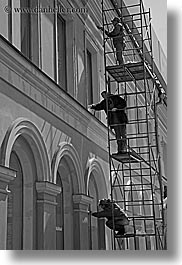 asia, black and white, men, moscow, painters, people, russia, scaffolds, vertical, photograph