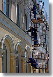 asia, men, moscow, painters, people, russia, scaffolds, vertical, photograph