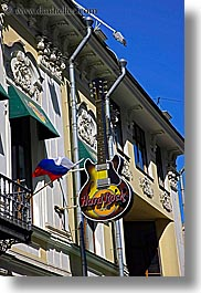 asia, cafes, guitars, hard, instruments, moscow, music, rocks, russia, signs, vertical, photograph