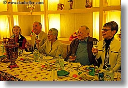 asia, colors, dinner, emotions, groups, happy, horizontal, men, moscow, people, russia, senior citizen, smiles, smiling, tourists, womens, yellow, photograph