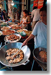 asia, bangkok, cooking, foods, streets, thailand, vertical, womens, photograph