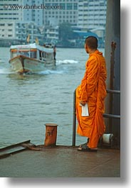 asia, bangkok, boats, looking, monks, people, rivers, thailand, vertical, photograph