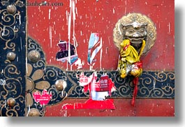 asia, asian, colors, doors, dragons, horizontal, knockers, lhasa, painted, red, style, tibet, photograph